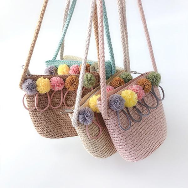 High Quality Handmade Children Shoulder Bag Exquisite Flower Straw Bag Messenger Kids Keys Coin Purse Cute Princess Handbags