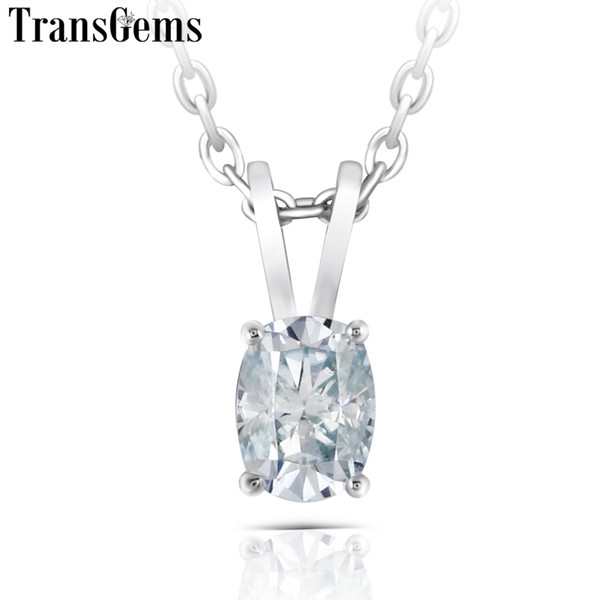 Transgems Platinum Plated Silver 1ct 5x7mm Slight Blue Color Moissanite Pendant Necklace For Women Gift Sterling Slide Pendant Y19061203