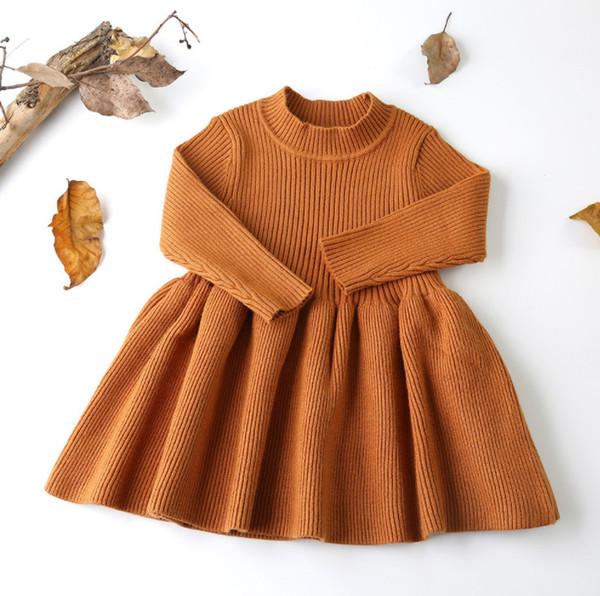 Compre Vestidos Para Niñas Niños Suéter De Punto Vertical Vestido Plisado De Manga Larga Vestido De Princesa Con Fondo Para Niños 2019 Otoño Nueva