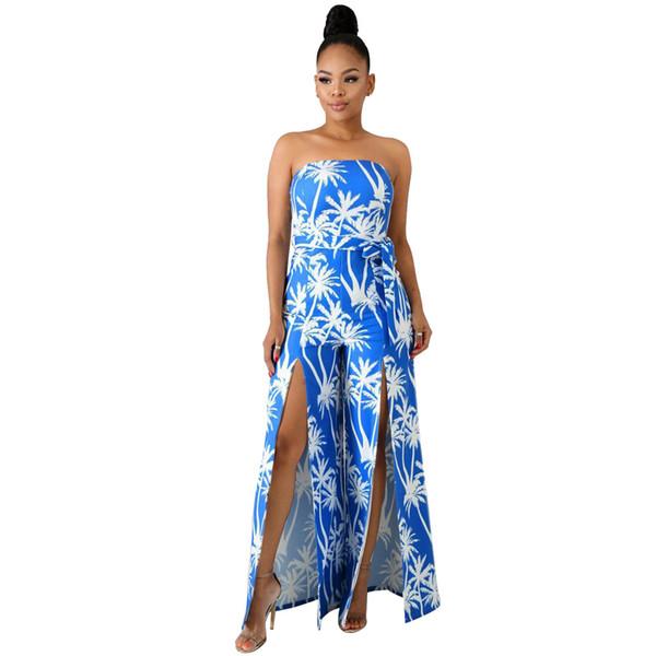 Moda Casual Mulher Azul Branco Impresso Soltos Longos Macacões 2019 Nova Senhora Sem Alças Sem Mangas de Alta Dividir Sashes Macaquinho DN8198
