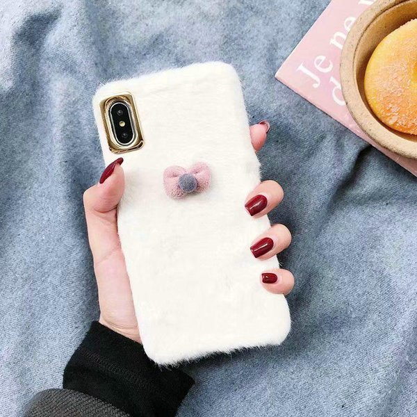 White plush case phone case cover for iphone Xs max Xr X phone case cover for iphone 7 7plus 8 8plus 6 6plus