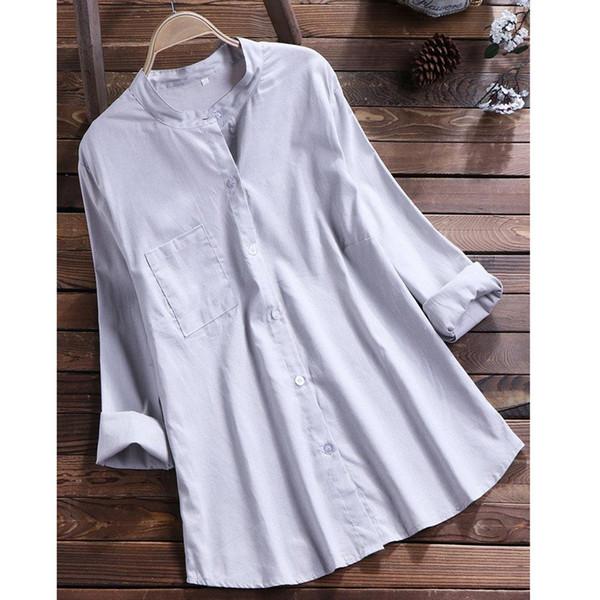 Casual été en mousseline de soie femmes casual plus la taille solide lin lâche bouton tunique chemise blouse Tops chemises tops blouse plus la taille usure