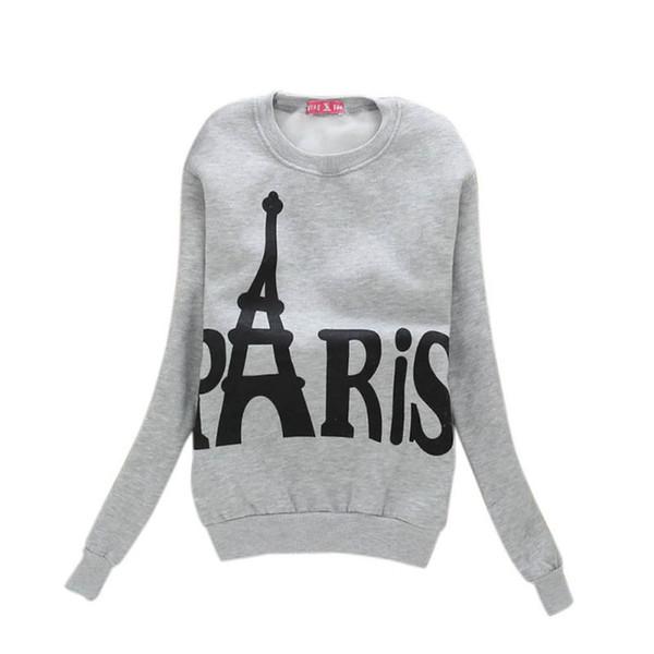 Women's Plus Velvet Fashionable Long Sleeve Casual Autumn Sweatshirt Paris Tower Letter Print Sweatshirt Clothing Loose Tops