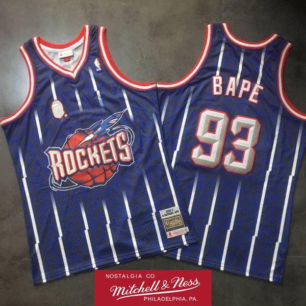 Maillot APE x Mitchell Ness Houston 2002-03 Rockets # 93BAPE Swingman Jersey Hardwoods Classics Maillot de basketball snoop dogg