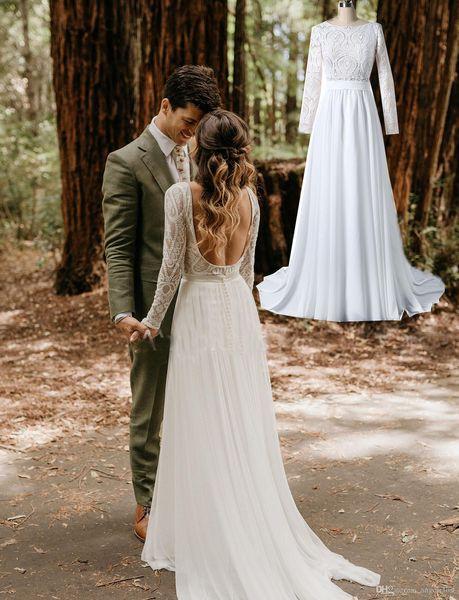 Real Images 2019 Lace Bohemian Wedding Dresses Long Sleeves Open Back A Line Chiffon Summer Boho Chic Rustic Bridal Gowns Vestidos De Novia