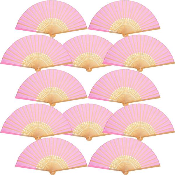 Compre Calidad Decoración Del Hogar Boda De Bambú Mano Ventilador De La Boda Regalos Decorativos Mano Ventilador De Color Rosa Tela Plegable