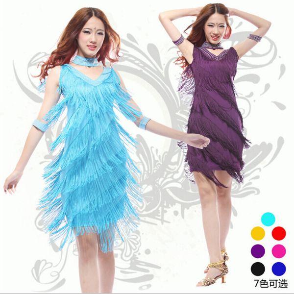Новый 2016 латинский танец платья костюмы женщины / девушки сексуальная бахрома длинная юбка бальные / танго / румба / латинские платья одежда для танцовщицы