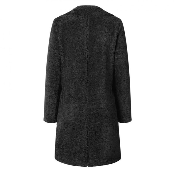Kadın Ceket Kış Uzun Palto Kuzu Faux Kürk Uzun Hırka Kabanlar Tunik Kadın Kalın Sıcak Coat Polar Peluş Streetwear