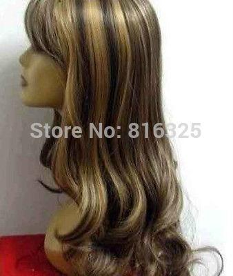 hun Wholesale price P&P>>>>>fashion browns mix long curly health hair wig