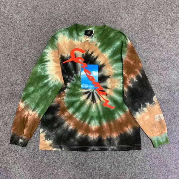 NEW JACKET autumn new TRAVIS SCOTT ASTROWORLD TIE-DYE HOODIE tie dyed graffiti long-sleeved T-shirt sweater S-XL