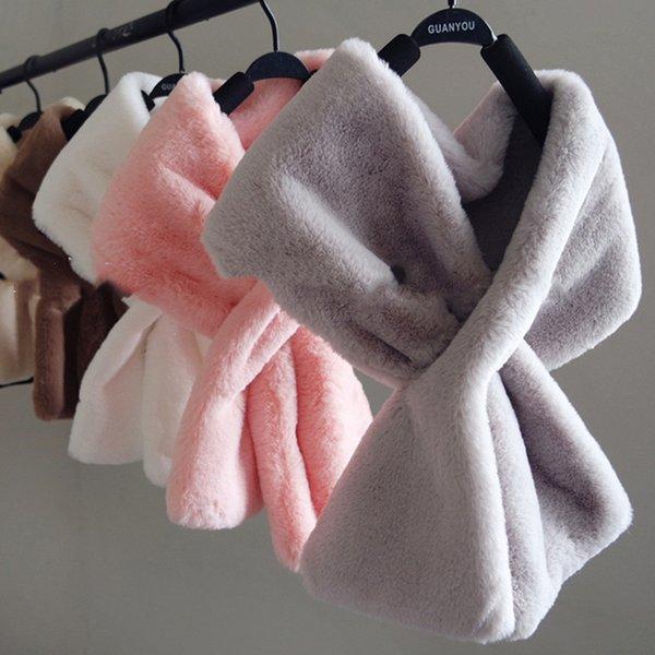 8 colors 20CM*90CM Faux Fur Collar Winter Scarf Women faux Knitted Rex Rabbit Fur Scarves Fur Neckerchief Winter Long Wraps 2019 D19011003