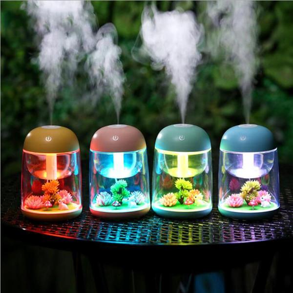 LED Micro Paisaje Humidificador Mini Humidificador de Aire USB Difusor Ultrasónico Mist Maker Cambio de Colores LED Luz de Noche LJJK1519