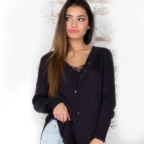 Maglione delle donne di inverno di nuova moda Maglione casuale delle donne del maglione del V-collo del manicotto lungo casuale