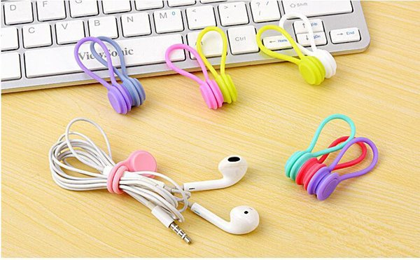 top popular Magnetic headphones holder Soft silicone Magnet Earphone Headphone Cord Wire Holder Organizer Fashion Lavalier Clips Cable Winde 2019