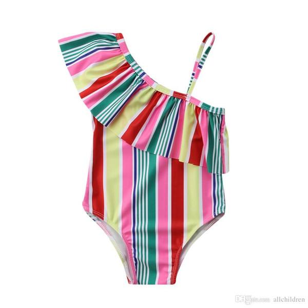 erstklassig Großhandelsverkauf großes Sortiment Großhandel Kinder Bademode Sommer Kinder Badeanzug Mädchen Bikini Beach  Rainbow Stripe Straps One Piece C5 Von Pixes1, $3.99 Auf De.Dhgate.Com | ...