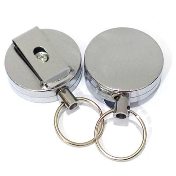 Hoher Rückprall-Teleskop-Drahtseil-Schlüsselring Diebstahlsicherer Metall-Schlüsselring mit einziehbarem Zug Abzeichenhalter Schlüsselanhänger Gürtelclip ZZA325