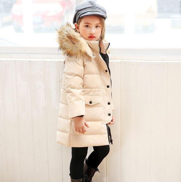 OLEKID 2019 Winter Jacket For Girls Brand Fur Collar Hooded Long Children Down Jacket 2-12 Years Kids Teenage Outerwear Coat