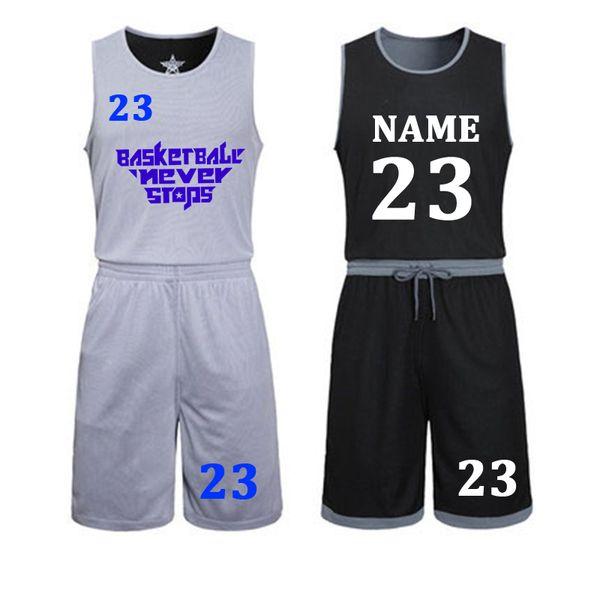 Diy Basketball Jerseys Set Uniforms Kits Child Men Reversible Basketball Shirts Shorts Suit Sports Clothes Double-side Sportswea Q190521