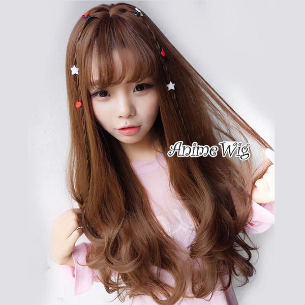 Japan Long Wavy Brown Lolita Hair Thin Bang Party Cute Natural Cosplay Wig+Cap>>>>>Free shipping New High Quality Fashion Picture wig