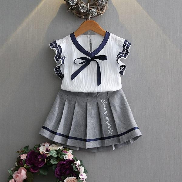 Girls Summer Suit Childrens Clothing New Childrens Lace Short-sleeved College Wind Two-piece