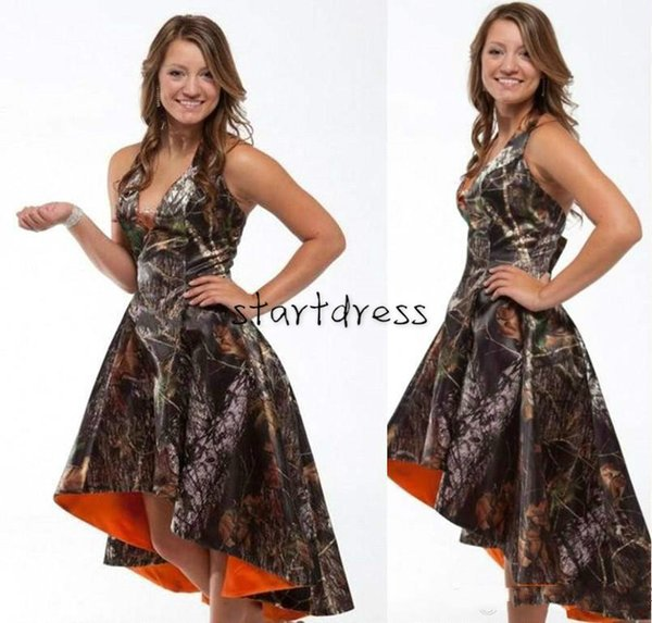 Sexy Camo Prom Dresses High Low halter Camoflage Cheap Bridesmaid Dresses 2015 Best Sleeveless Formal Party Evening Gown Short Cocktail Chic