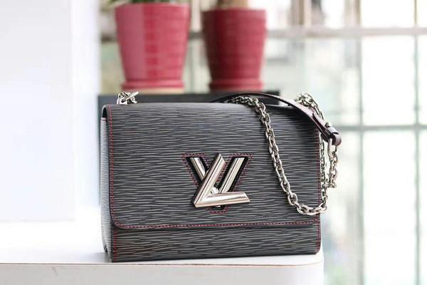 top popular Hot Sale M50281 Twist Denim New Shoulder Bags Handbags Women Fashion Lockme Purse Crossbody Bag Leather Tote Bag 2019