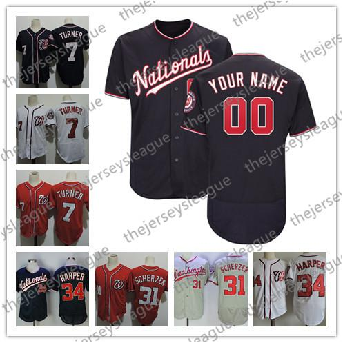 100% authentic f79ae cce3d 2019 Custom Nationals Any Name Number Stitched White Red Blue Jersey  Washington #7 Trea Turner 11 Ryan Zimmerman 31 Max Scherzer From ...