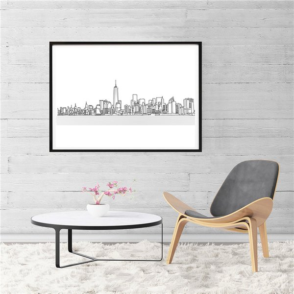 New York City Skyline Simple Painting Wall Art Picture abstrat Poster And Print Decorative Home Decor