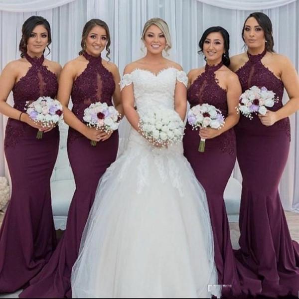 New Hot Purple Grape Mermaid Bridesmaid Dresses Elegant Arabic Halter Neck Lace Appliques Wedding Guest Party Dresses Vestido de Feista