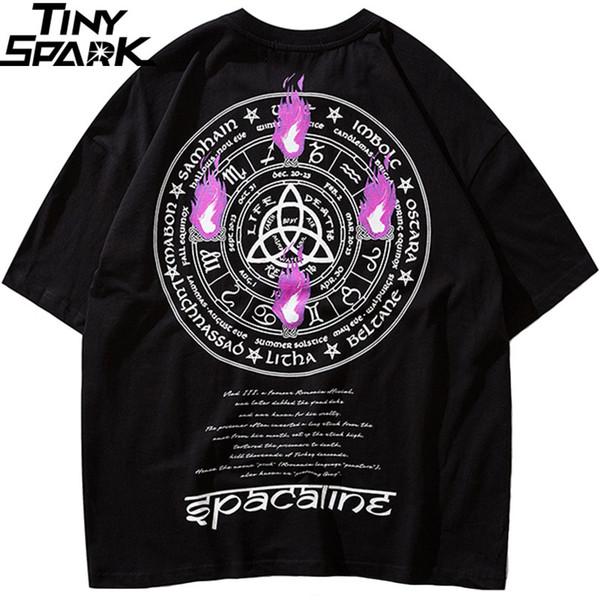 2019 Erkekler Harajuku T Gömlek Yangın Alev 12 Takımyıldızları Zodyak Tshirt Hip Hop Streetwear T-Shirt Yaz Pamuk HipHop Tees Tops