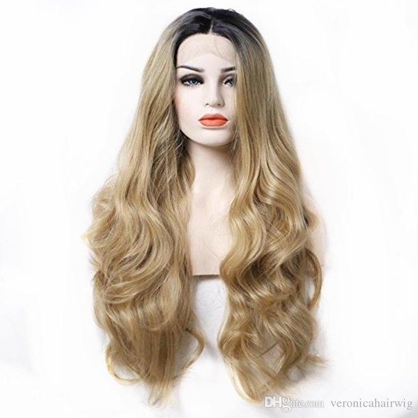 Natural Hiarline Middle Part Long Wavy Wig Dark Roots Ombre Blonde Hair Synthetic Lace Front Wig for White Women Heat Resistant Fiber Hair