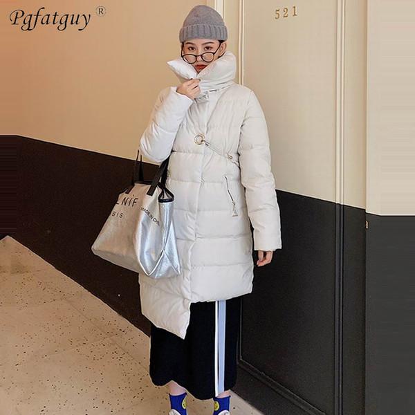 2019 Winter Jacket Women Coats 2018 Fashion Female Stand Winter Jacket Women Asymmetrical Pin Buckle Parkas Plus Size L XXXL Overcoat From Layette66,