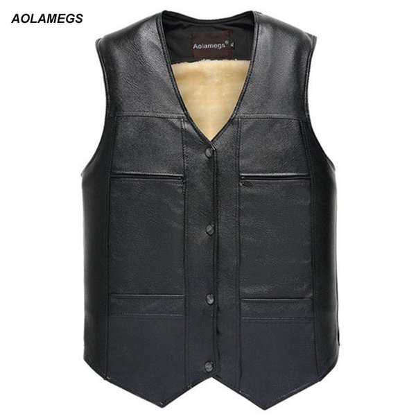 Aolamegs Leather Vest Thick Solid Tank Tops Men Motorcycle Hip Hop Waistcoat Male Faux Leather Punk Spring Sleeveless Jacket