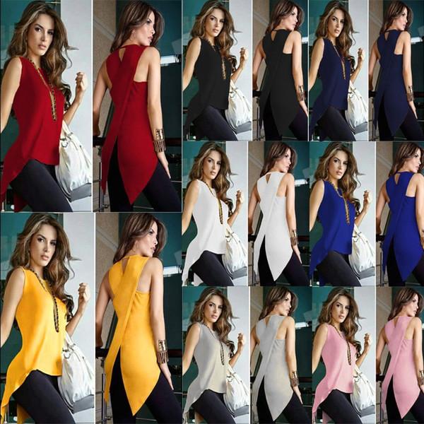 10 Colour S-3XL Women's Top Fitness vest Pullover Casual Sleeveless asymmetric hem Cross slim T-shirt Blouse Tanks