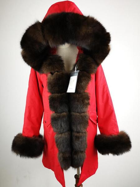 PONKIY 2019 winter jacket women real fur coat natural real fur collar rex liner parkas outerwear Detachable