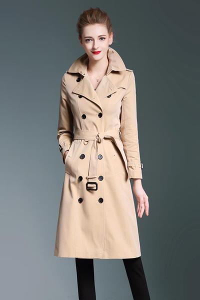 Damen Trench Coats Gabardine lange Windjacke Gürtel wasserdicht Neue englischer Stil Herbst Winter Volltonfarbe britischer zweireihig 94B