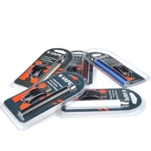 K Vape 510 Battery 1100mAh Preheat VV Adjustable Voltage 510 thread vape pen battery ego battery for 1ml ceramic vape cartridge