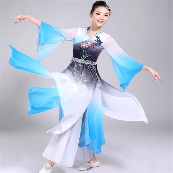Festival Outfit Costumi di danza classica New Yangko Abbigliamento adulto Square Dance Umbrella Fan Performance Clothing