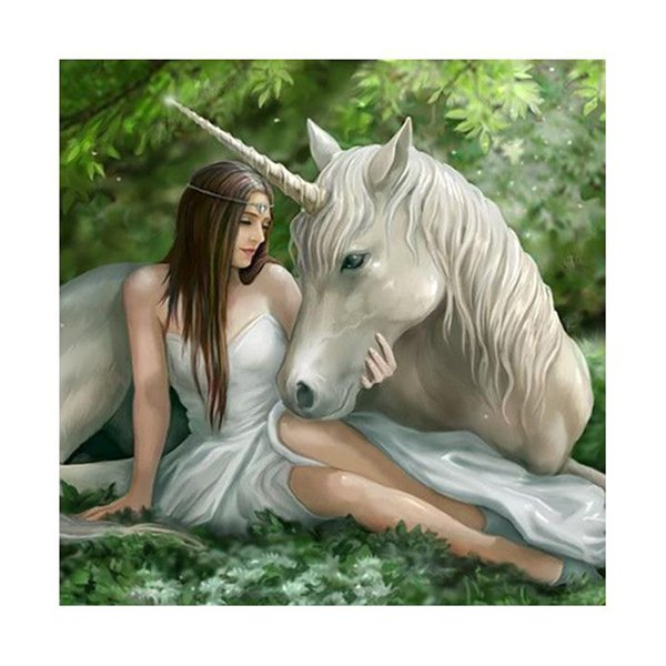 Beauty and White Horse DIY 5D Mosaic Diamond Painting Cross Embroidery Suite Diamond Embroidery Square Diamond Home Decorative Wall Art