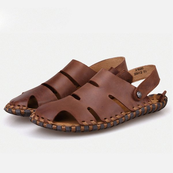 summer high quality genuine leather Men Sandals rubber sole Sandy beach male shoes casual fashion Men's Slippers