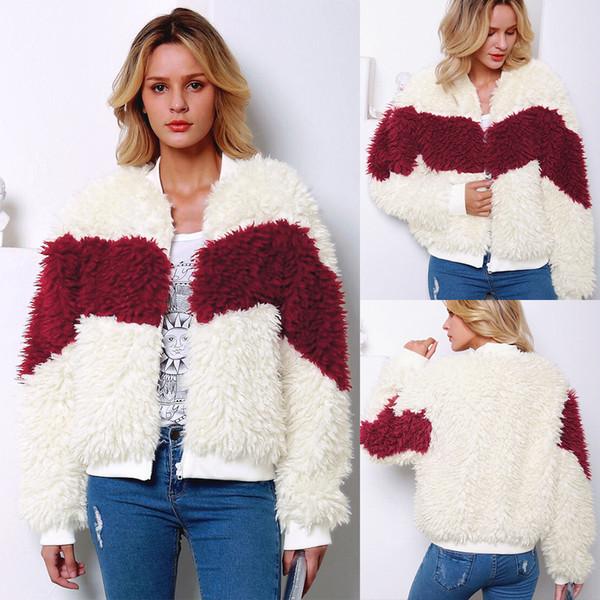 Mode hiver Contraste fausse fourrure Sport Casual Baseball manteau court à manches longues femmes Fluffy col droit chaud Veste d'extérieur D2