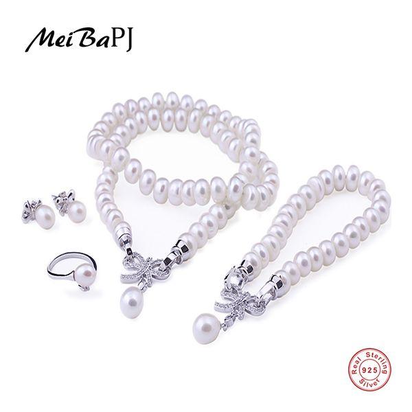MeiBaPJ Real Culture Pearl 925 Juego de joyas de plata esterlina Pulsera Collar Pendientes Anillo para mujeres Accesorios de boda TZ-005Y