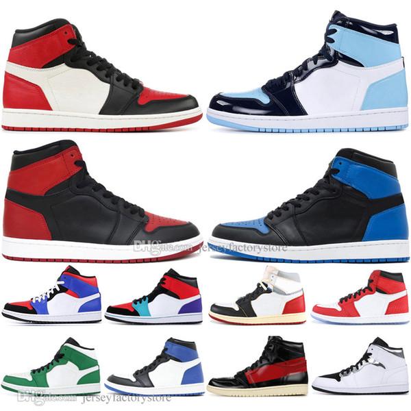 Pas cher 1 High OG Interdit Bred Toe Spider-Man UNC 1s top 3 Chaussures de Basketball Hommes Hommage À La Maison Chicago Royal Blue Hommes Sport Designer Sneakers