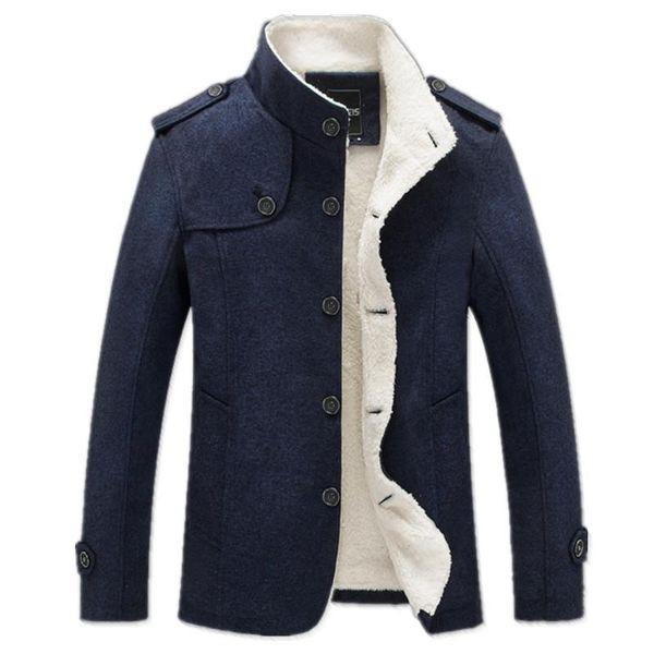 Outwear Casaco de Inverno Homens Moda Roupas de Marca Forrado de Lã Grosso Casaco De Lã Quente Mistura de Lã masculina masculino Casaco Trench 4XL