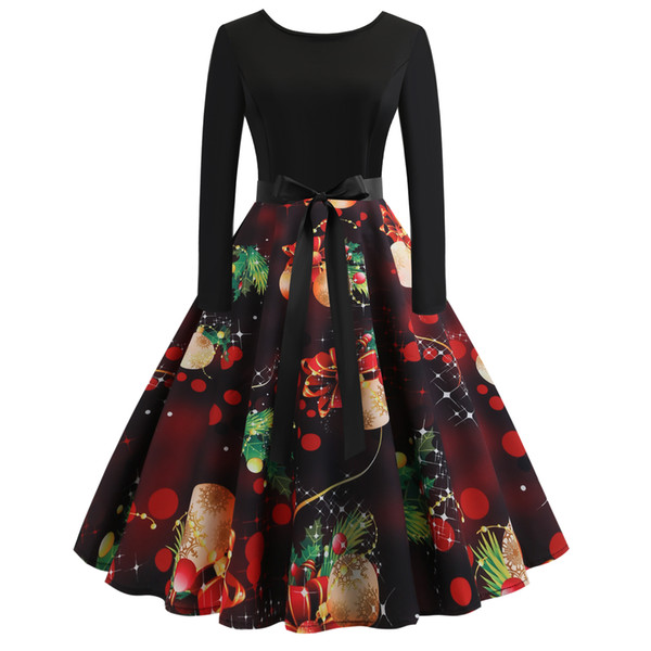 S-2XL women winter fashion plus size Christmas party dress long sleeve cartoon print a line ladies Xmas wear a3