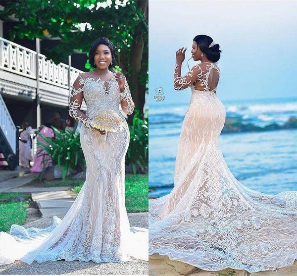 2019 Luz Champagne Mangas Compridas Sereia Vestidos de Casamento de Renda de Luxo Appliqued Frisado de Cristal Plus Size Vestido de Noiva Africano
