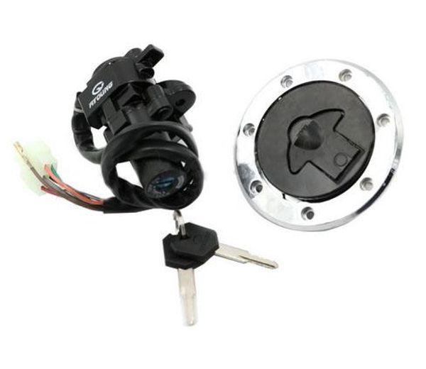 Llave de bloqueo de la tapa de la tapa del tapón del tanque de gasolina y aceite del interruptor de encendido de la motocicleta para Kawasaki Ninja ZX7RR ZX750 1996-1997 ZR400 Xanthus 1992-1995