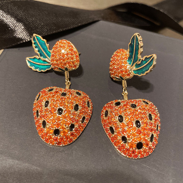 Qualitäts-gelbes Gold überzogenes Voll CZ Erdbeere Ohrringe für Mädchen-Frauen für Partei-Hochzeit Nizza Geschenk