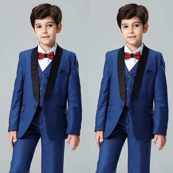 de5433c7 Navy Blue Boy'S Formal Wear Shawl Lapel Kids Wedding Tuxedos One Button  Flower Boys Suits Custom MadeJacket+Vest+Pants Formal Wear Separates Formal  ...
