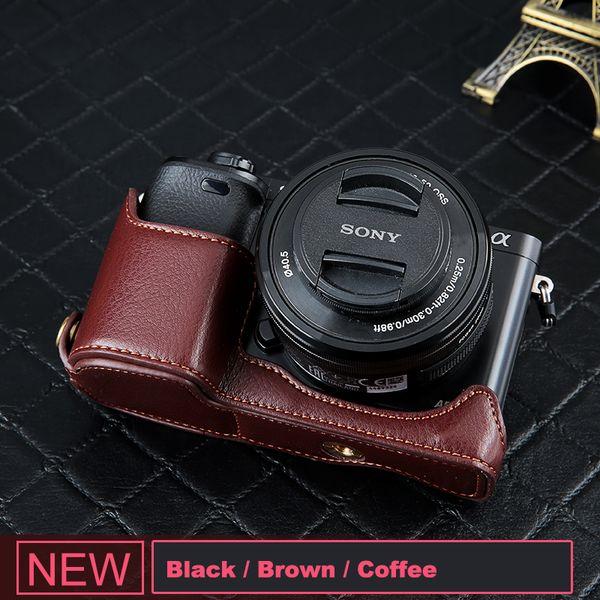 PU Housse Sac en bas de l'appareil photo Demi Housse en cuir pour Sony A6000 A6300 A5100 A5000 A7 A7S A7R A7RM2 A7II A7S2 A9 A7M3 A7 Mark II